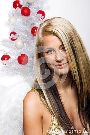 Smiling woman on christmas