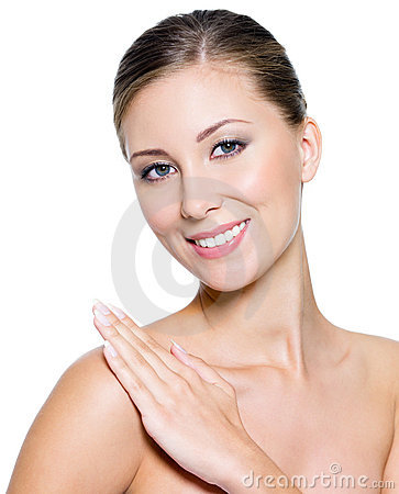 Smiling woman with clean skin