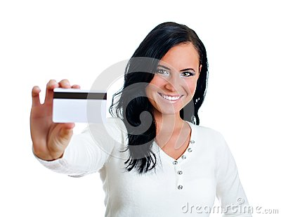 Smiling woman with credit card.