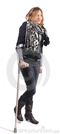 Smiling woman on crutches