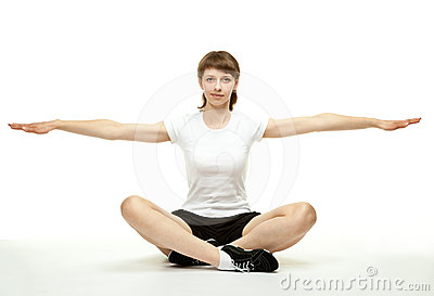 Smiling woman doing sport exercises