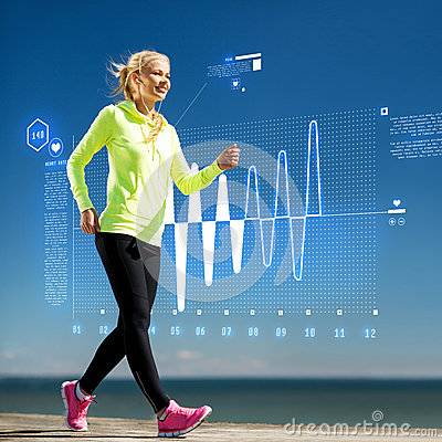 Free Smiling Woman Doing Sports Outdoors With Earphones Royalty Free Stock Image - 37270896
