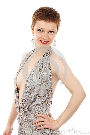 Smiling Woman In Fashionable Dress Free Public Domain Cc0 Image