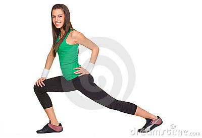 Smiling woman fitness stratching