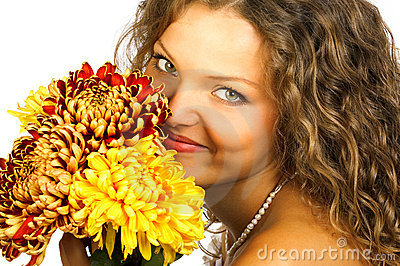 Smiling woman with flowers