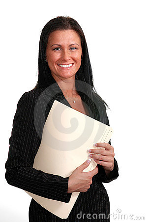 Smiling woman with folders