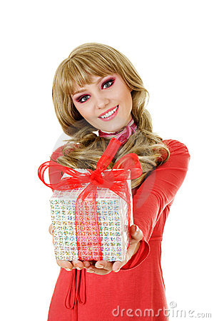 Smiling woman with gift box