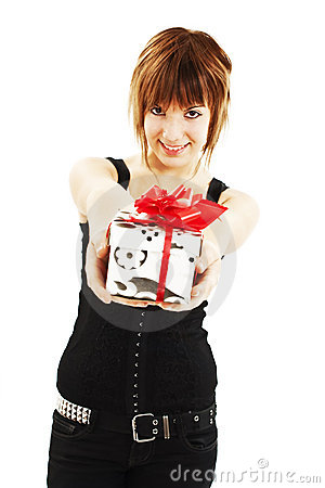 Smiling woman with a gift box