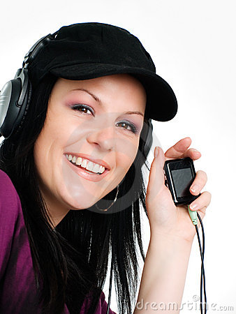 Smiling woman with headphones and mp3