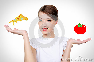 Smiling  woman with healthy eating concept