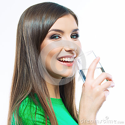 Smiling woman hold water glass. white background