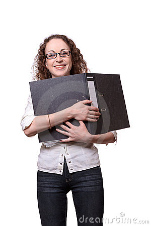 Smiling woman holding black folder