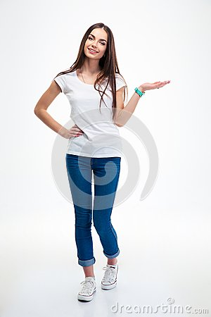 Free Smiling Woman Holding Copyspace On The Palm Royalty Free Stock Photo - 56667945