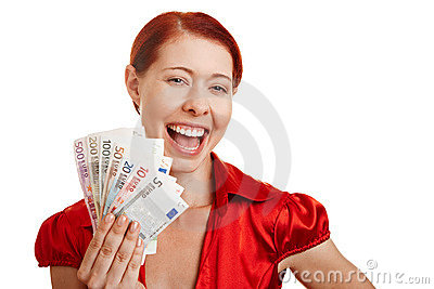 Smiling woman holding Euro money