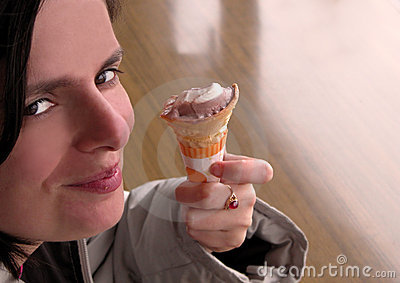 Smiling woman with icecream