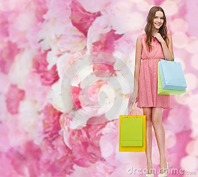 Free Smiling Woman In Dress With Many Shopping Bags Royalty Free Stock Images - 39784999