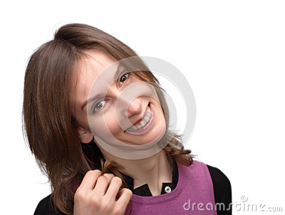 Smiling woman isolated white