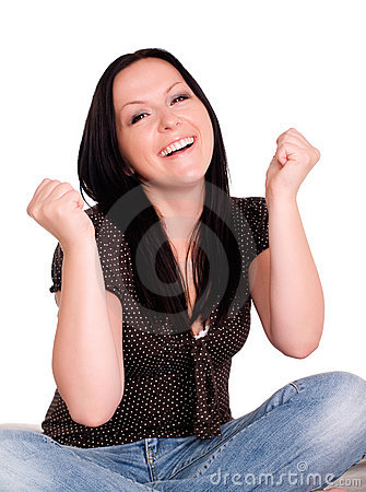 Smiling woman keeping her fingers crossed