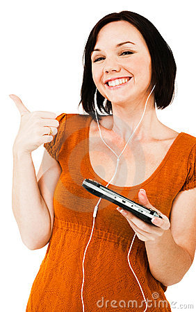 Smiling woman listening media player