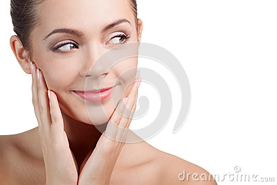 Smiling woman looking on copyspace