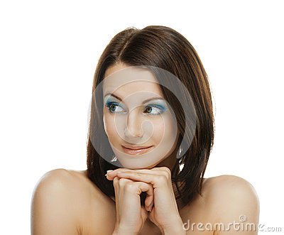 Smiling woman looks askance