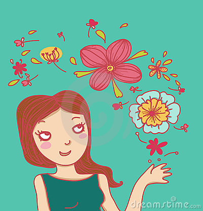 Smiling woman and magic flowers