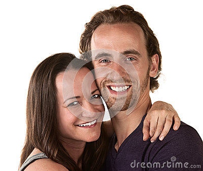 Smiling Woman and Man Close Up