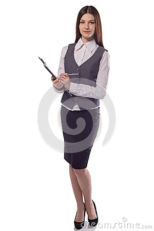Free Smiling Woman Manager Or Teacher With Clipboard Isolated Royalty Free Stock Image - 87612316