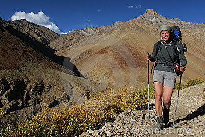 Smiling woman in the mountains