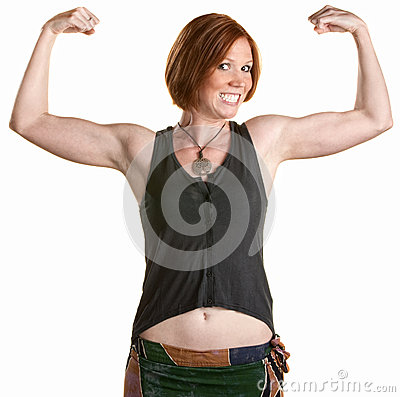 Smiling Woman with Muscles