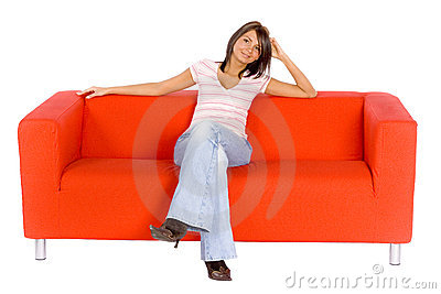 Smiling Woman On Orange Couch
