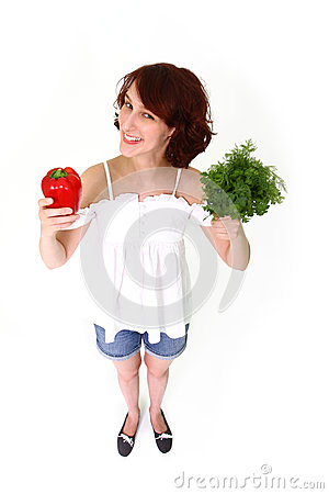 Smiling woman with pepper