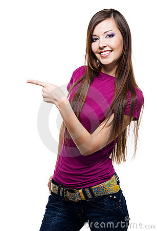Smiling woman points a hand