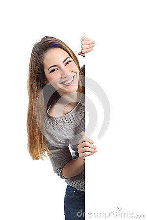 Free Smiling Woman Presenting And Holding A Blank Sign Stock Photos - 41001973