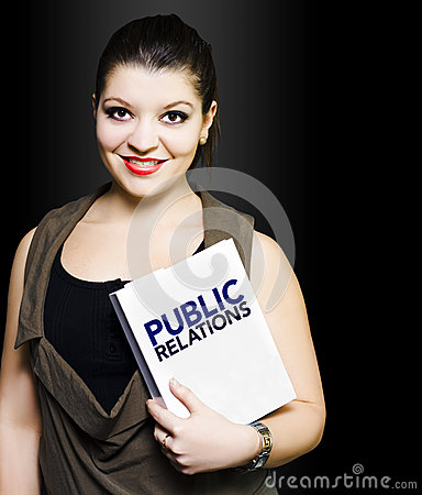 Smiling woman with public relations folder