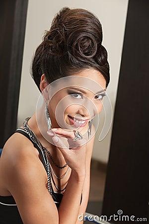 Smiling Woman with Retro Hairdo