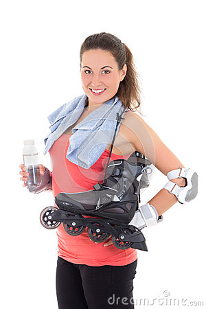 Smiling woman with roller skates
