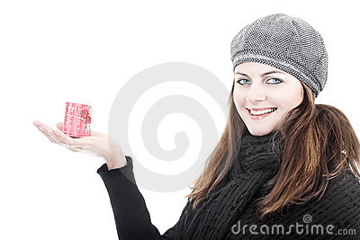 Smiling woman with romantic candle