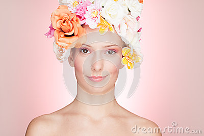 Smiling Woman with Roses Hat