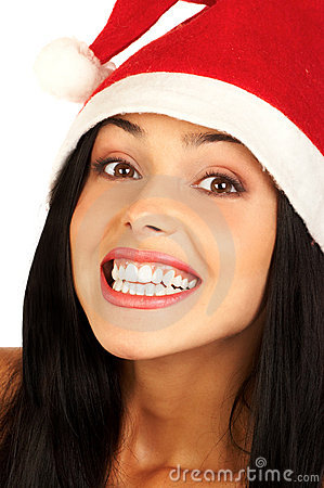 Smiling woman in Santa Cap