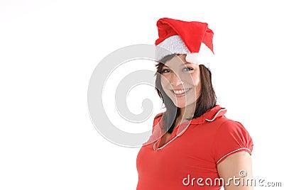Smiling Woman in Santa Cap