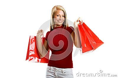 Smiling woman at shopping