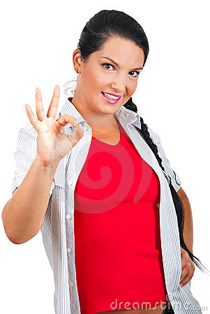 Smiling woman showing okay sign hand