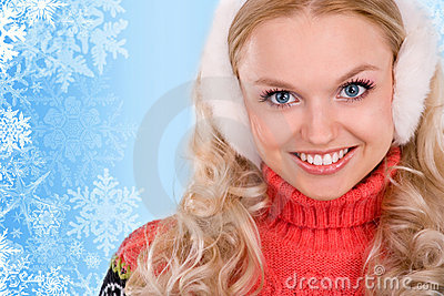 Smiling woman with snowflakes