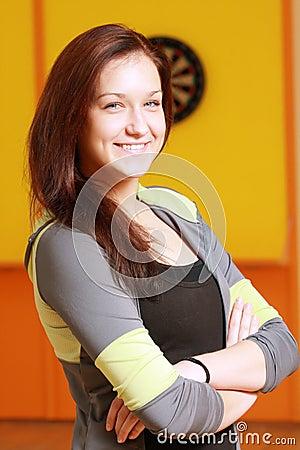 Smiling woman in sportswear