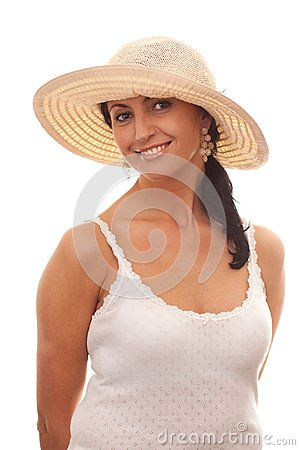 Smiling woman in straw hat