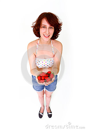 Smiling woman with strawberries
