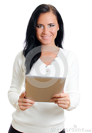 Smiling woman with tablet pc.
