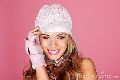 Smiling Woman In Winter Accessories
