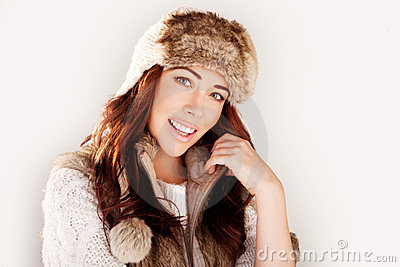 Smiling Woman In Winter Fur Hat